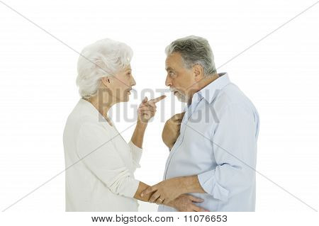 elderly couple disagreement