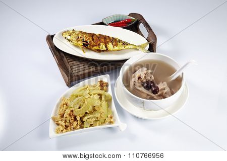turmeric fish,stir fried bitter gourd and lotus root soup