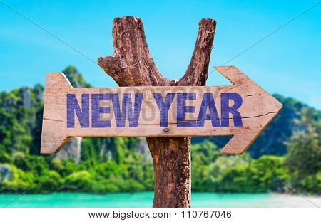 New Year arrow with beach background