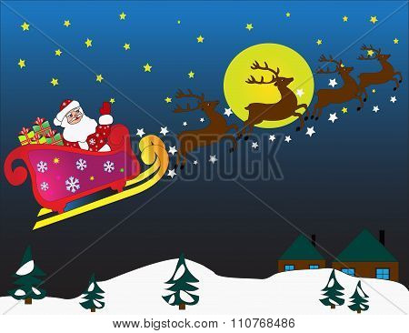 Flying sledge with Santa Claus and deers.