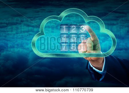 Hand Touching A Cloud Secured By Electronic Lock