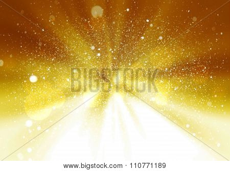 Magic Light Holiday Background. Gold Burst. Christmas Background