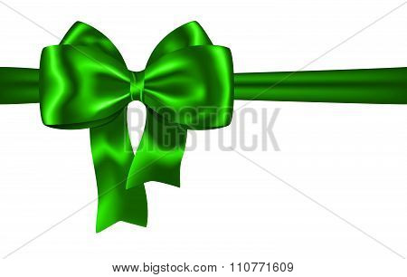 Green Ribbon And Bow For Festive Decorations