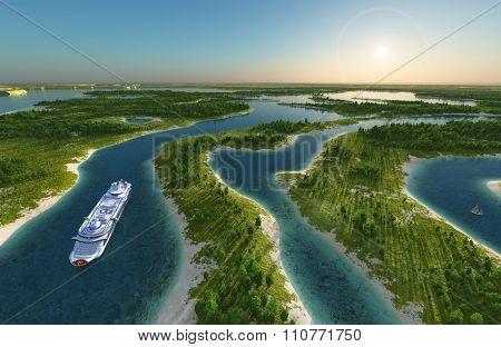 Summer landscape with passenger liner.