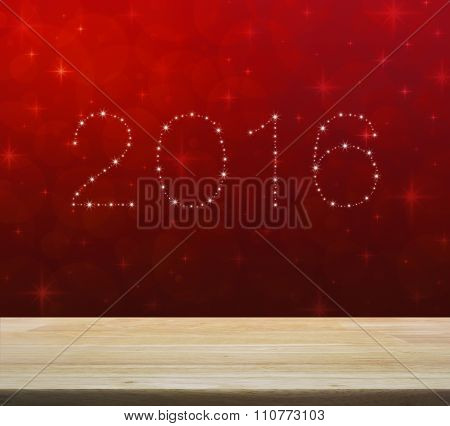 2016 From Beautiful Bright Stars Over Empty Wooden Table And Red Blur Light With Shiny Starry