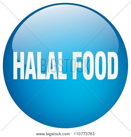 Halal Food Blue Round Gel Isolated Push Button