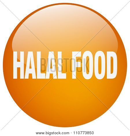 Halal Food Orange Round Gel Isolated Push Button