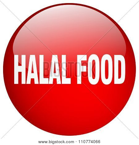 Halal Food Red Round Gel Isolated Push Button