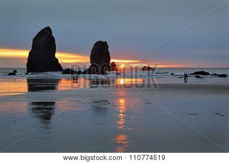 Watching Sunset, Oregon Coast, United States