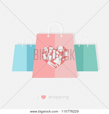 Design Template With Paper Bags, The Heart Is Made Of Different Female Fashion Accessories. Raster V