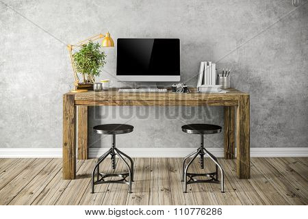 3d render of modern workplace setup