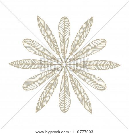 Hipster Feather Elements, Vintage Doodle Feather Vector
