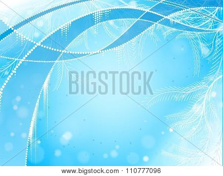 Abstract winter blue background with waves and tree needles elements