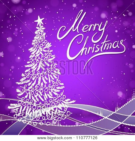 Purple Merry Christmas Greeting Card