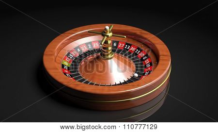 Roulette wheel on black background.Isolated