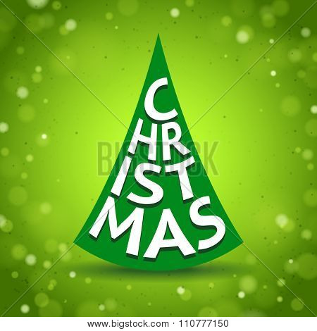 Abstract Christmas Tree Created by Letters on shine green background with lights