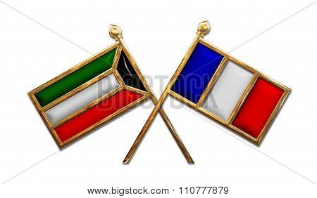 Diplomacy Kuwait And France Flags