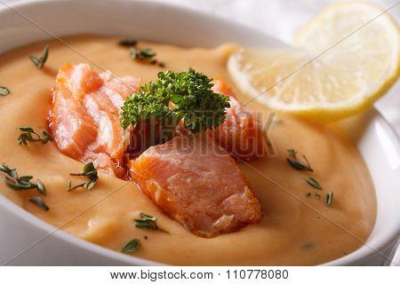Cream Soup With Salmon Fish Macro In A White Bowl. Horizontal