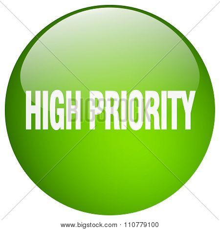 High Priority Green Round Gel Isolated Push Button