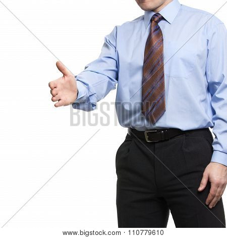 Businessman In Blue Shirt Holds Hand Welcome Gesture, Offering A Handshake