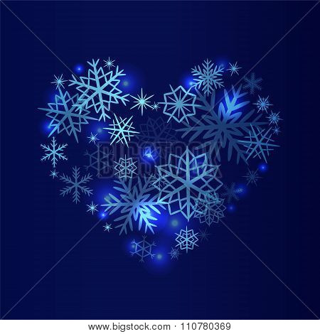 Stock Christmas Pattern  With  Snowflakes On The Blue Background.