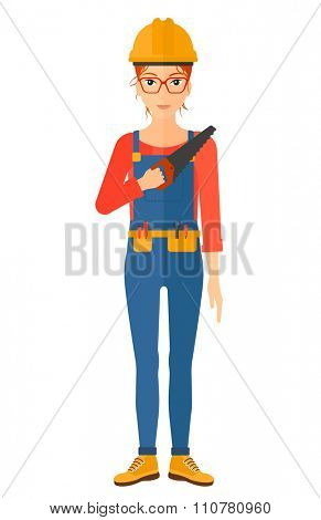 A female worker holding a saw in hand vector flat design illustration isolated on white background. Vertical layout.