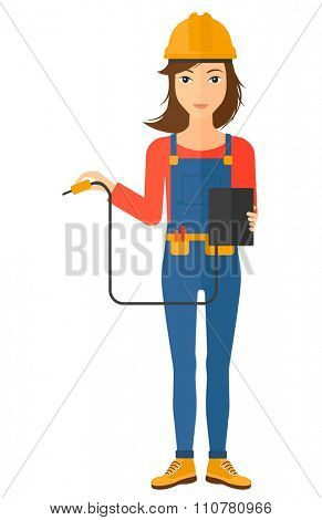 An electrician in helmet measuring the voltage output vector flat design illustration isolated on white background. Vertical layout.