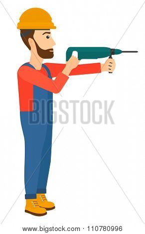 A hipster constructor with the beard drilling a hole using a perforator vector flat design illustration isolated on white background. Vertical layout.