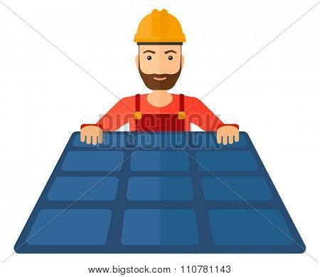 A hipster constructor with solar pannel in hands vector flat design illustration isolated on white background. Horizontal layout.