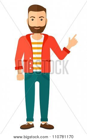 A happy young hipster man with the beard pointing up with his forefinger vector flat design illustration isolated on white background. Vertical layout.