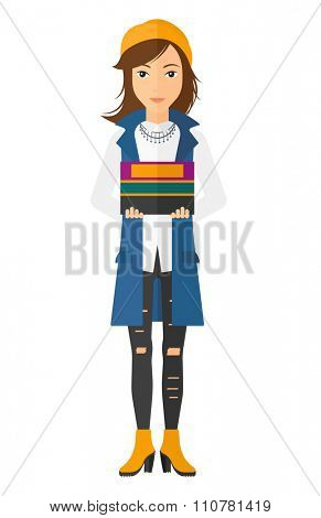 A caucasian woman standing with pile of folders vector flat design illustration isolated on white background. Vertical layout.