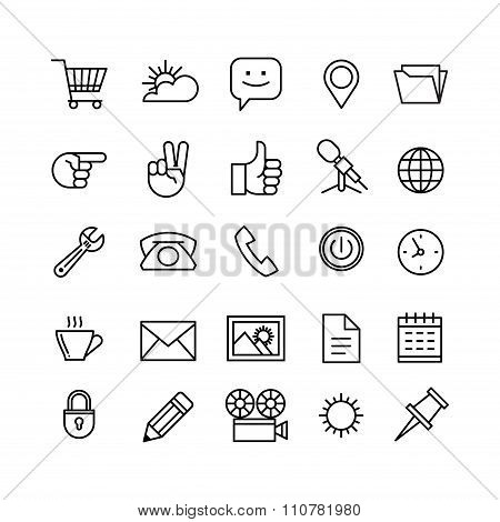 Line Phone Icons Set Isolated Illustration. Icons For Business