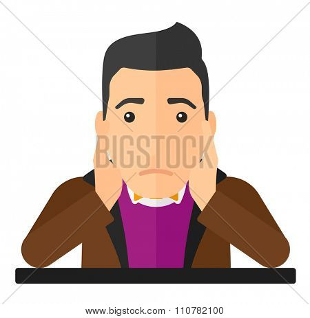 A disappointed young man sitting at the table clutching his head vector flat design illustration isolated on white background. Square layout.