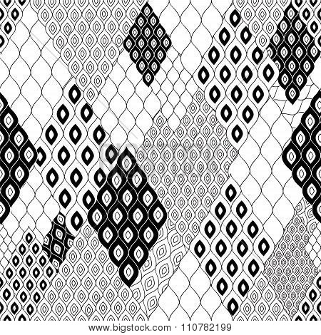 Stock Vector Seamless Abstract Pattern. Black And White Shape