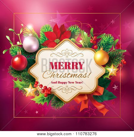 Christmas background with floral frame Vector illustration.