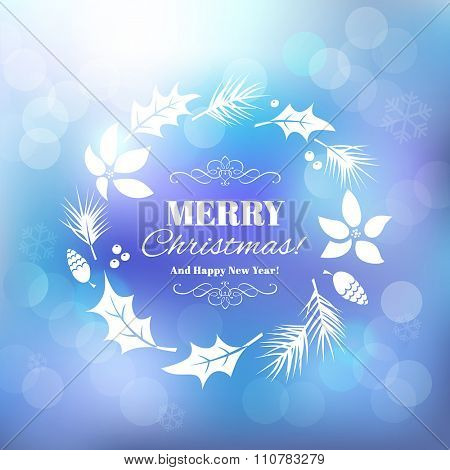 Christmas background with floral frame. Vector illustration.