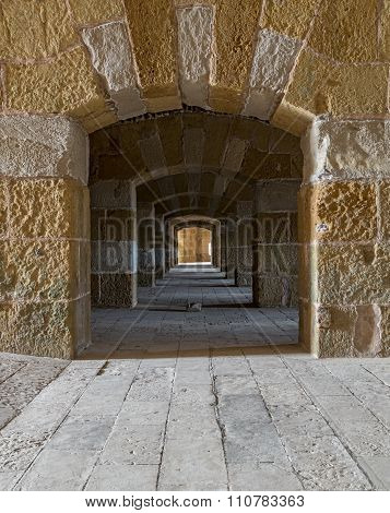 A Passage Under An Old Citadel In Alexandria, Egypt