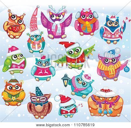 Set of Cute Christmas Owls