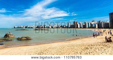 VITORIA, BRAZIL - CIRCA JULY 2015: People enjoying a hot day at Costa Beach in Espirito Santo, Brazil