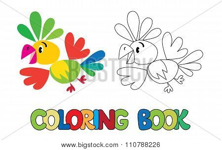 Coloring book of funny parrot
