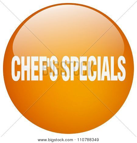 Chef's Specials Orange Round Gel Isolated Push Button