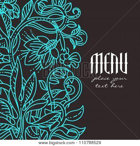 Vintage floral design elements. Menu cover template