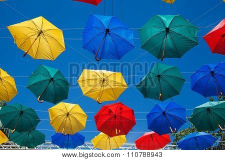 Floating umbrellas.