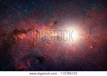 Bright, Shining Star In The Background Galaxy. Elements Of This Image Furnished By Nasa