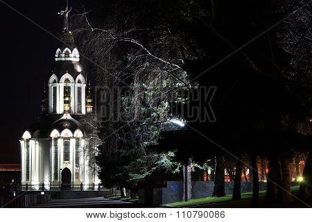 Beautiful church with illuminating at night.