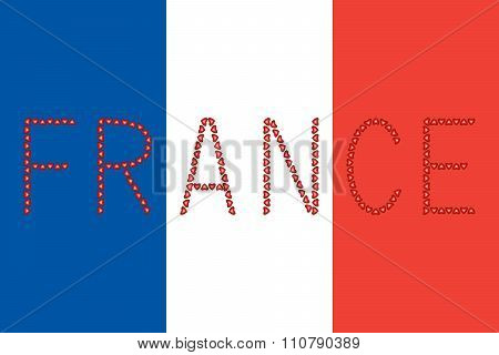 French Flag And Word France From Hearts
