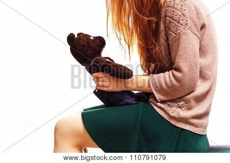 Girl Speaks With Teddybear.