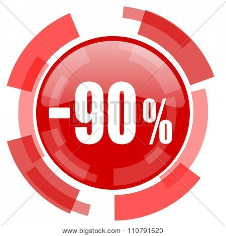 90 percent sale retail red glossy web icon