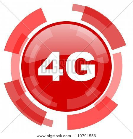 4g red glossy web icon