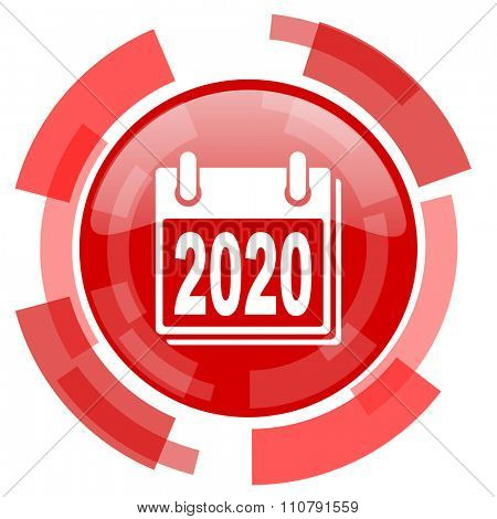 new year 2020 red glossy web icon